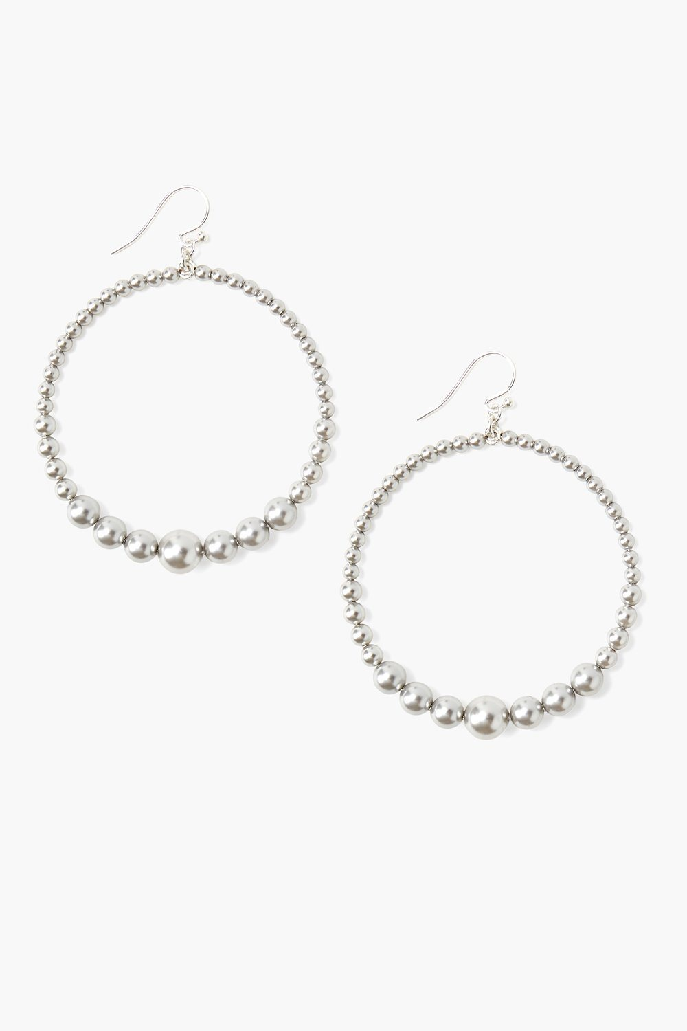 Grey Pearl Floating Hoop Earrings