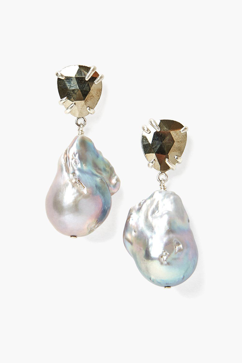 Pyrite and Baroque Pearl Drop Earrings