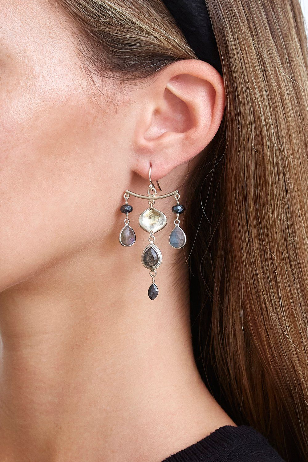 Black Mix Chandelier Earrings