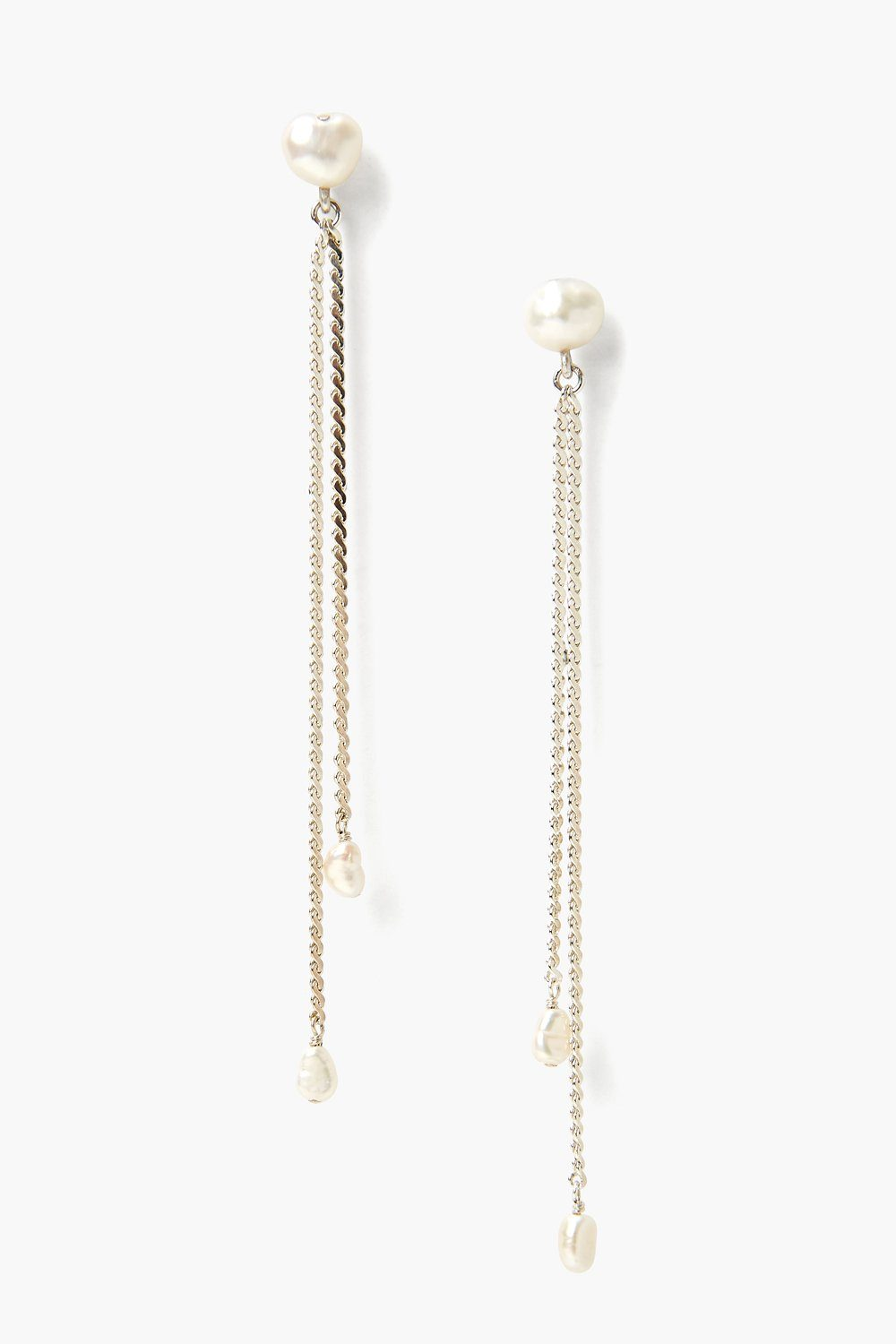 Silver Rope and Pearl Duster Earrings