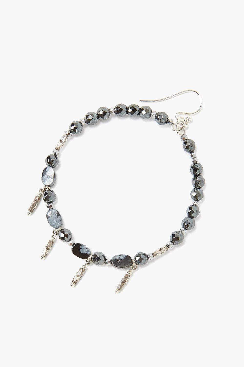 Snowflake Obsidian Hoop Earrings
