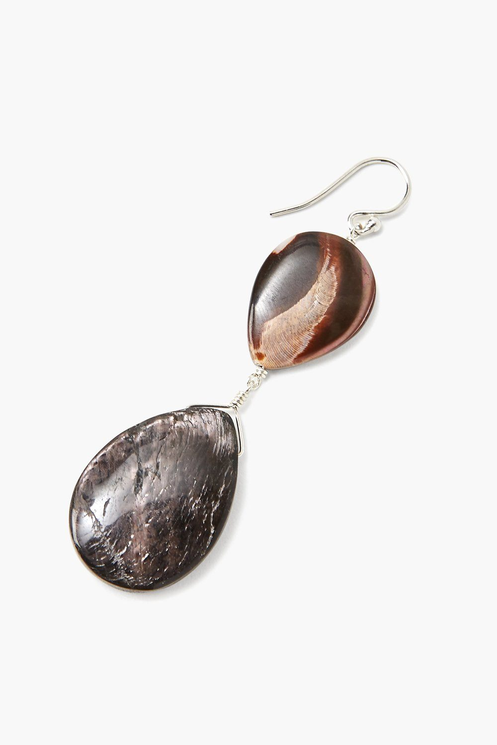 Hypersthene and Mother of Pearl Drop Earrings