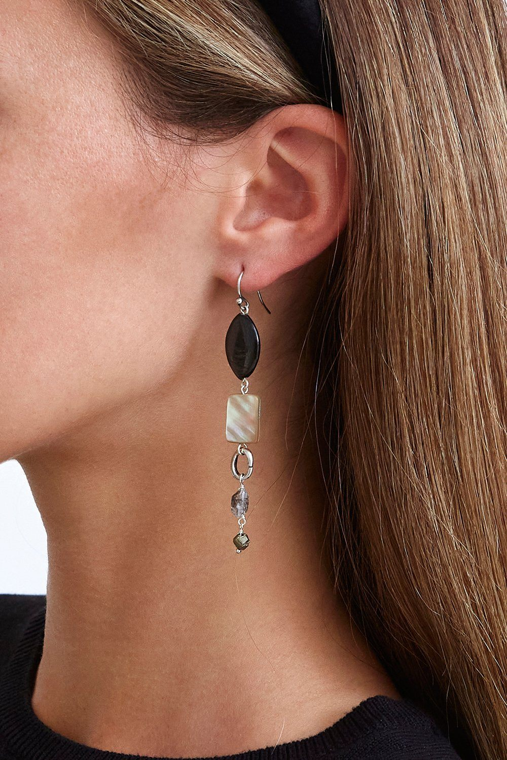 Mixed Modern Hypersthene Drop Earrings