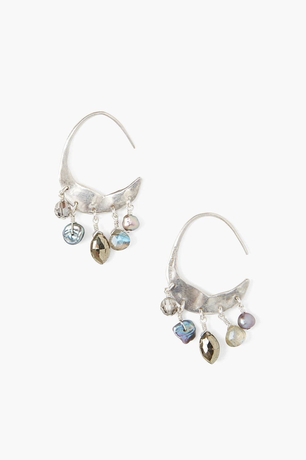 Crescent Grey Pearl and Labradorite Mix Silver Hoop Earrings