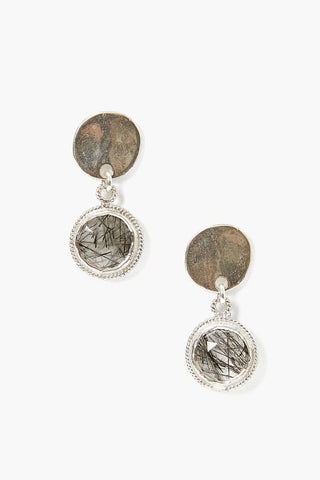 Tiered Black Rutilated Quartz Coin Earring