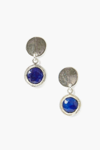 Tiered Lapis Coin Earring
