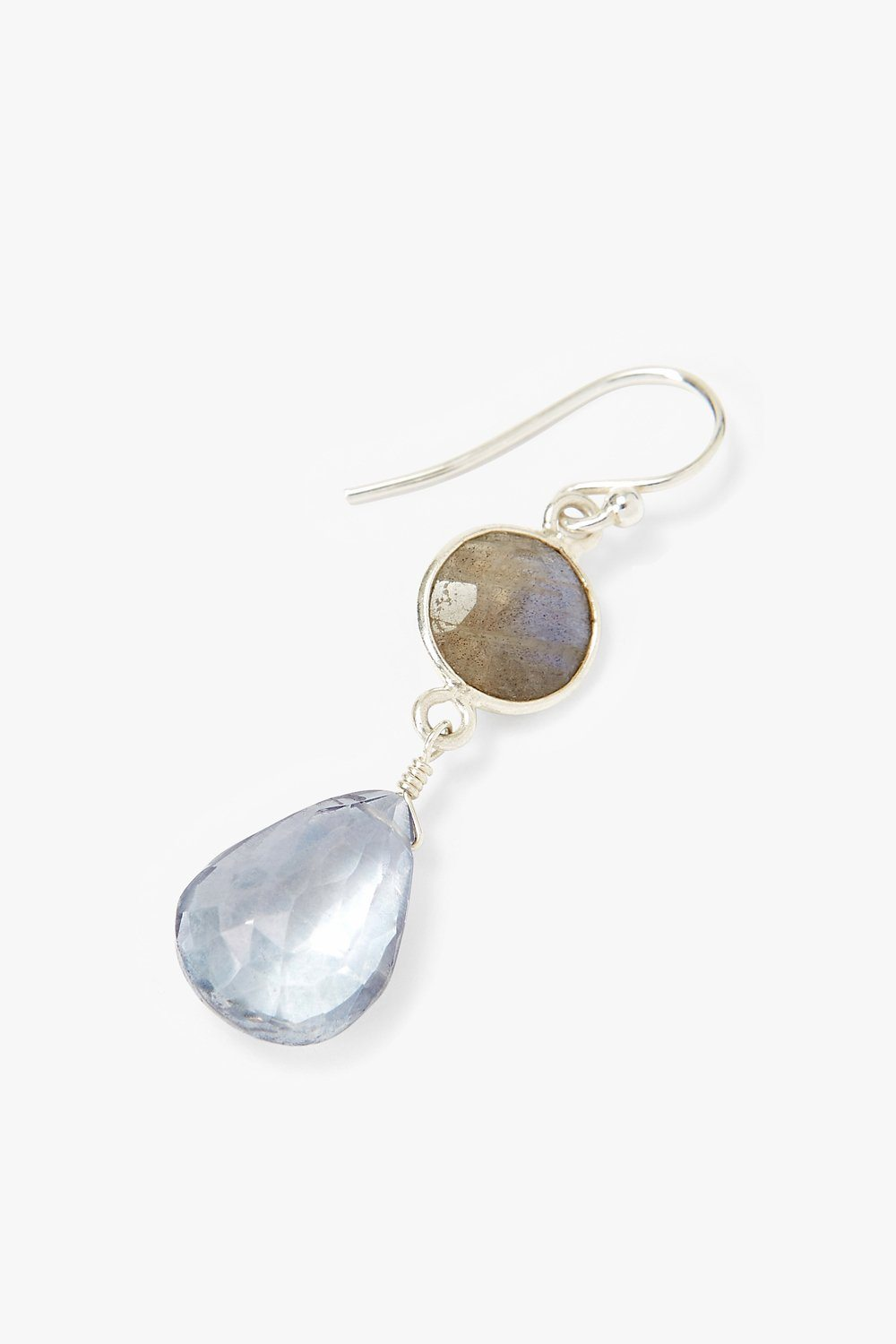 Blue Crystal and Labradorite Teardrop Earrings
