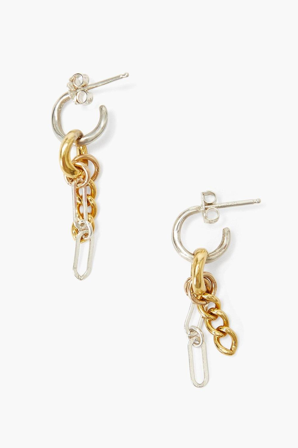 Silver and Gold Cable Chain Earrings