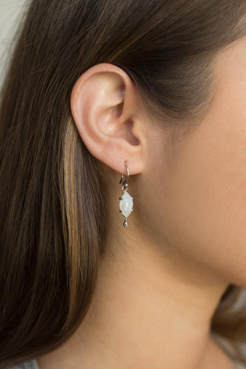 Moonstone Diamond Drop Earrings