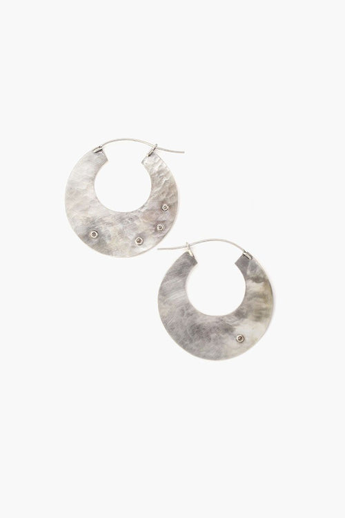 Silver Disc Champagne Diamond Hammered Hoop Earrings