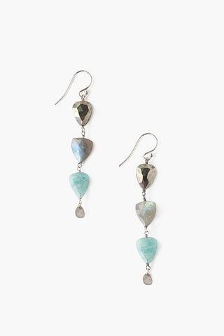 Five Tiered Peacock Blue Keshi Pearl Earrings