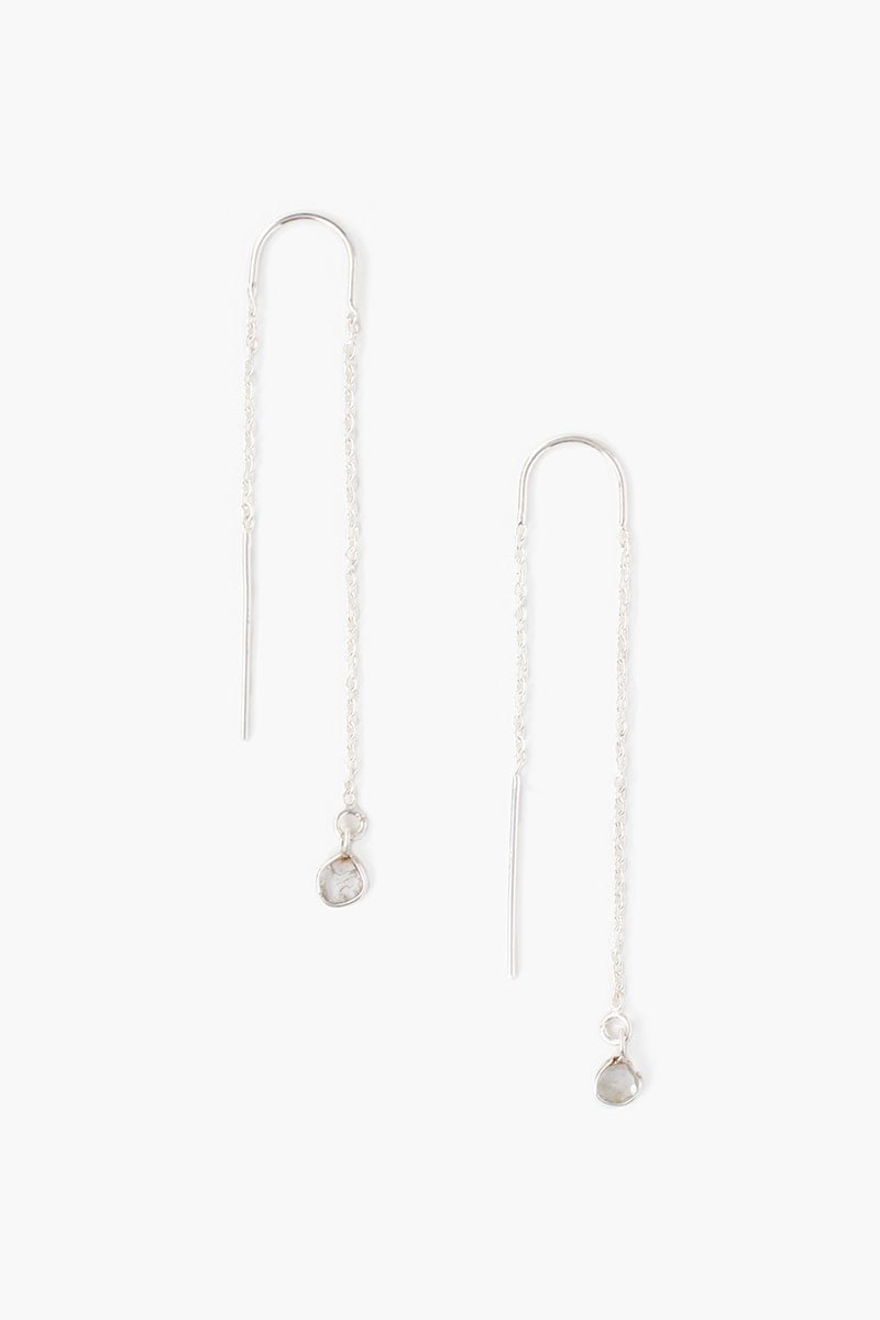 Silver and Sliced Diamond Thread Thru Earrings