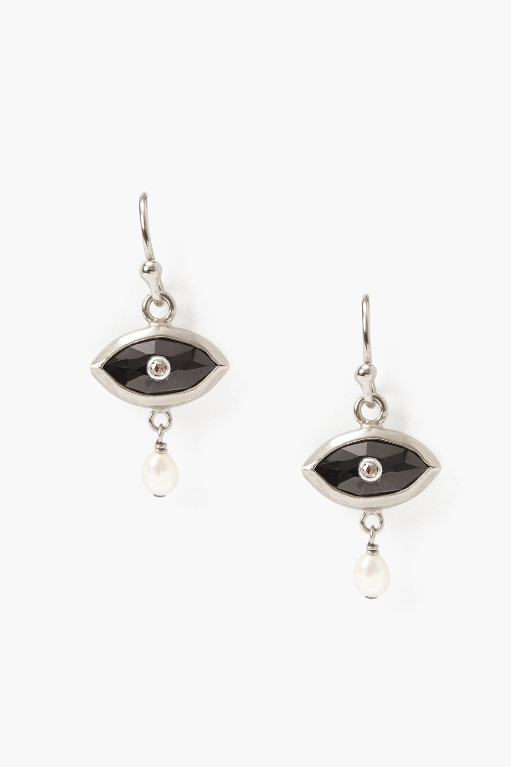 Pearl and Black Spinel Evil Eye with Champagne Diamond Silver Earrings
