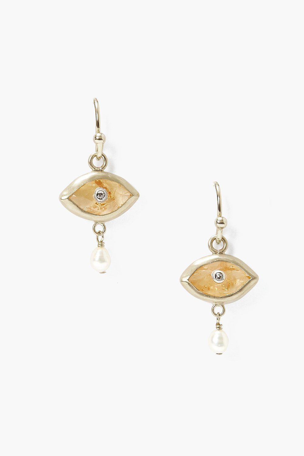 Pearl and Citrine Evil Eye with Champagne Diamond Silver Earrings