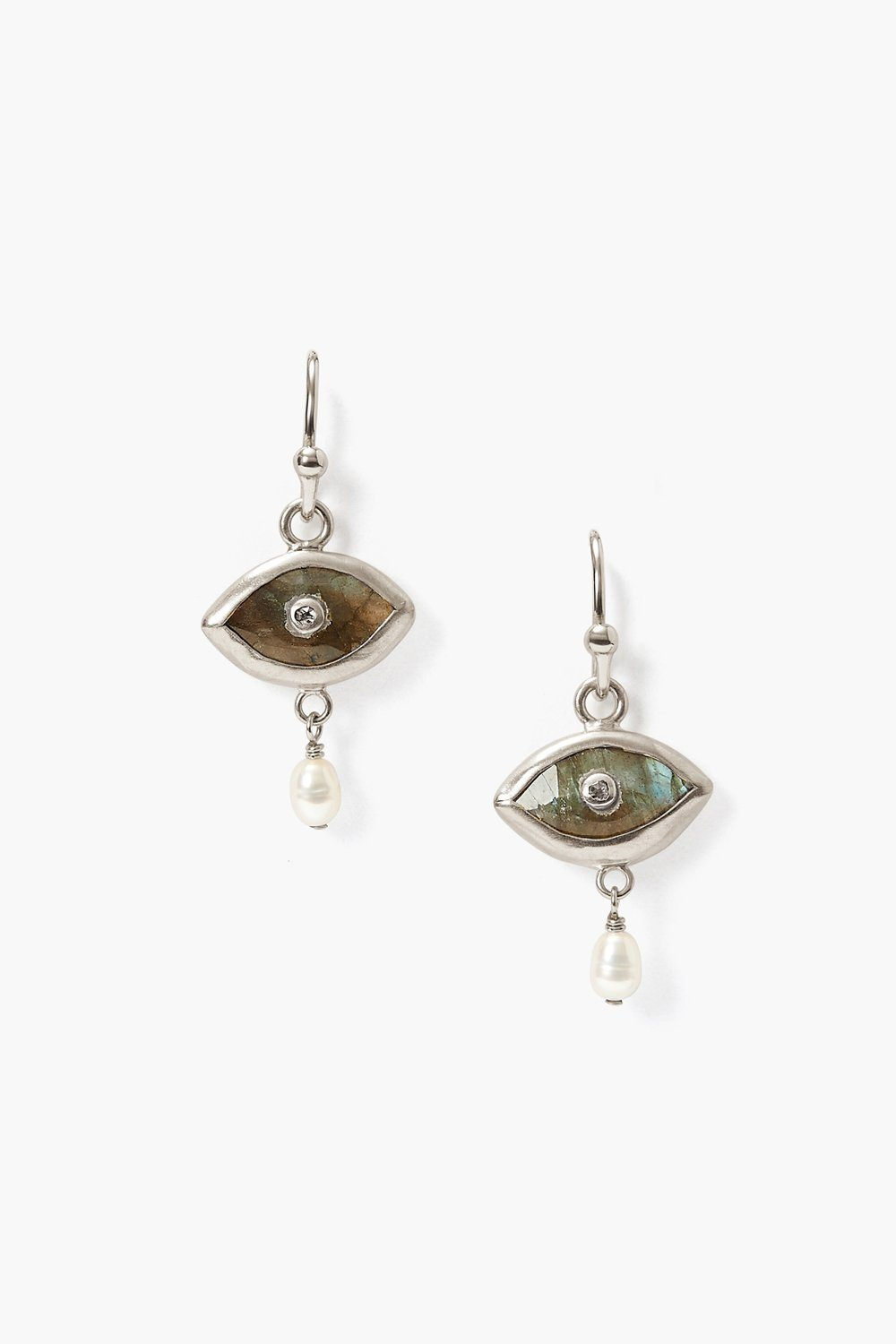 Pearl and Labradorite Evil Eye with Champagne Diamond Silver Earrings