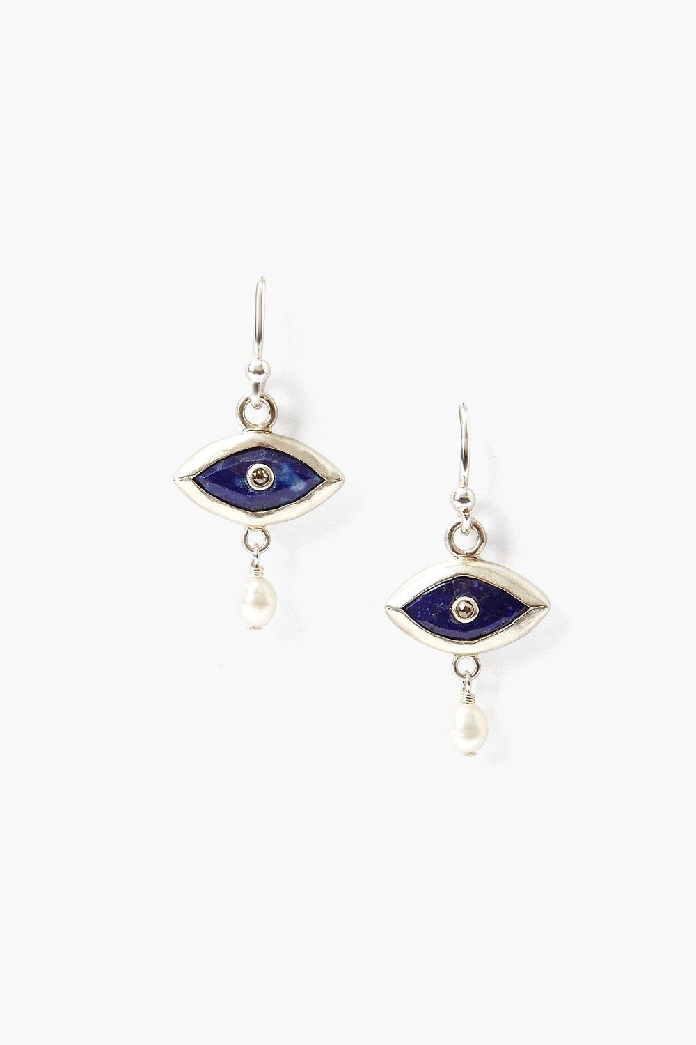 Pearl and Lapis Evil Eye with Champagne Diamond Earrings