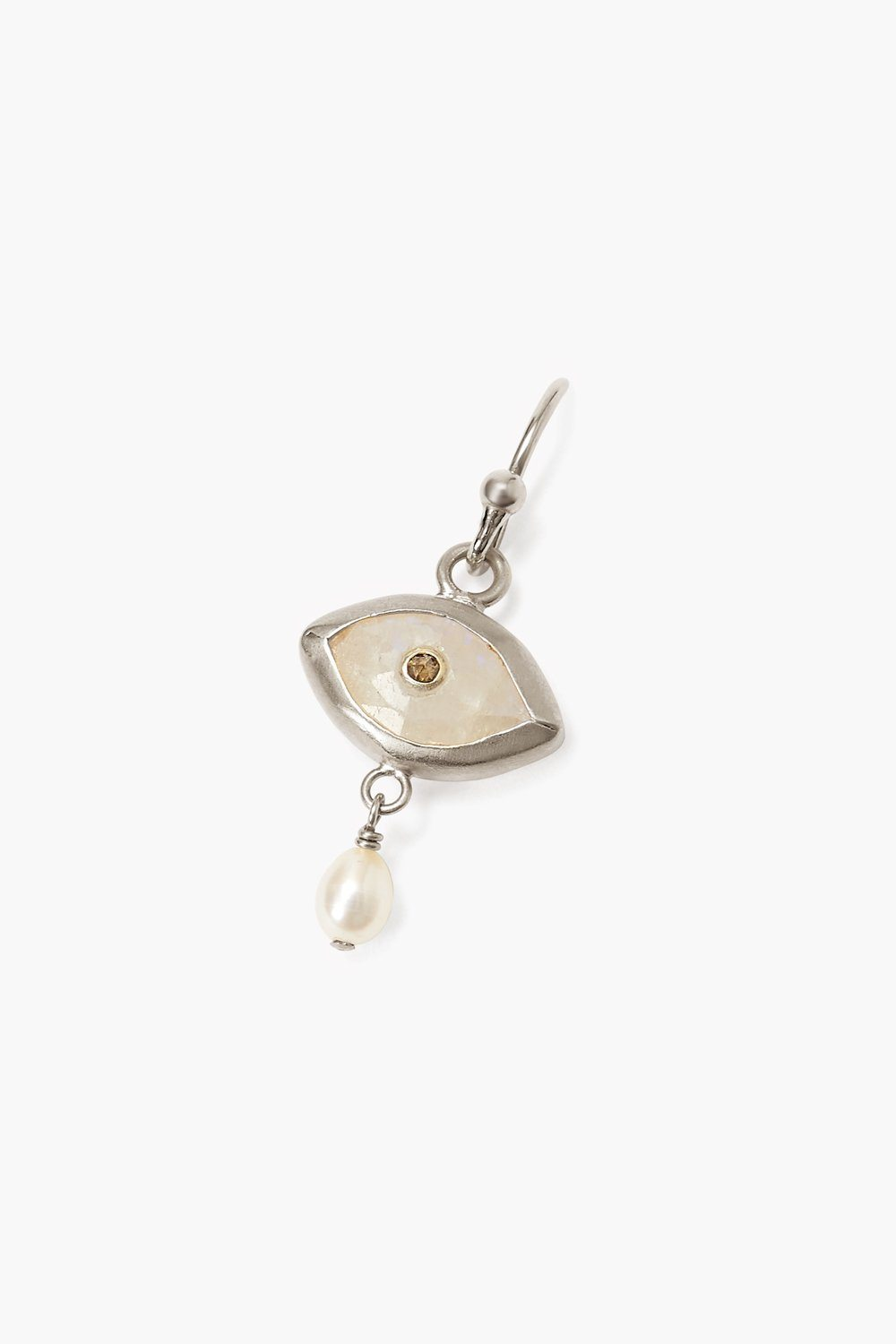 Pearl and Rainbow Moonstone Evil Eye with Champagne Diamond Silver Earrings