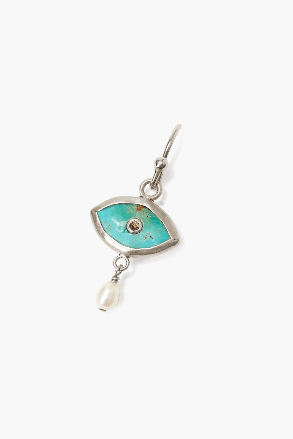 Pearl and Turquoise Evil Eye with Champagne Diamond Silver Earrings