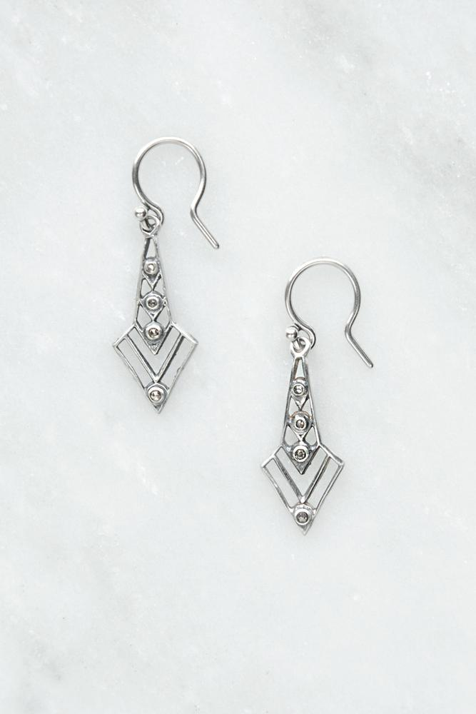 Silver Arrow Diamond Drop Earrings