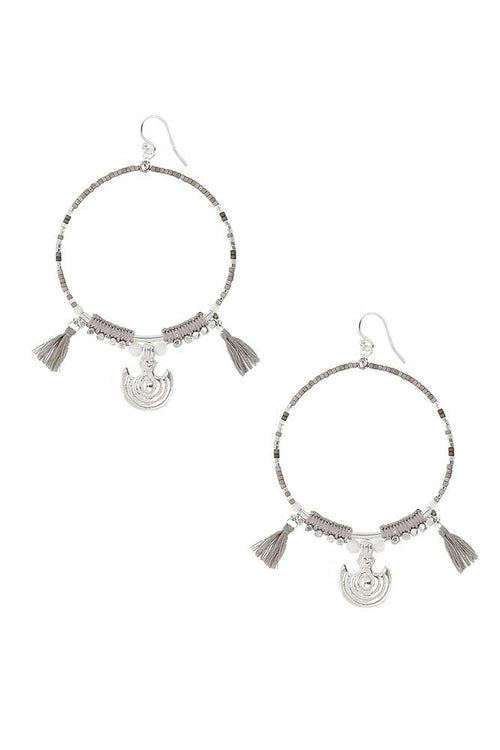 Grey Mix Statement Hoop Earrings