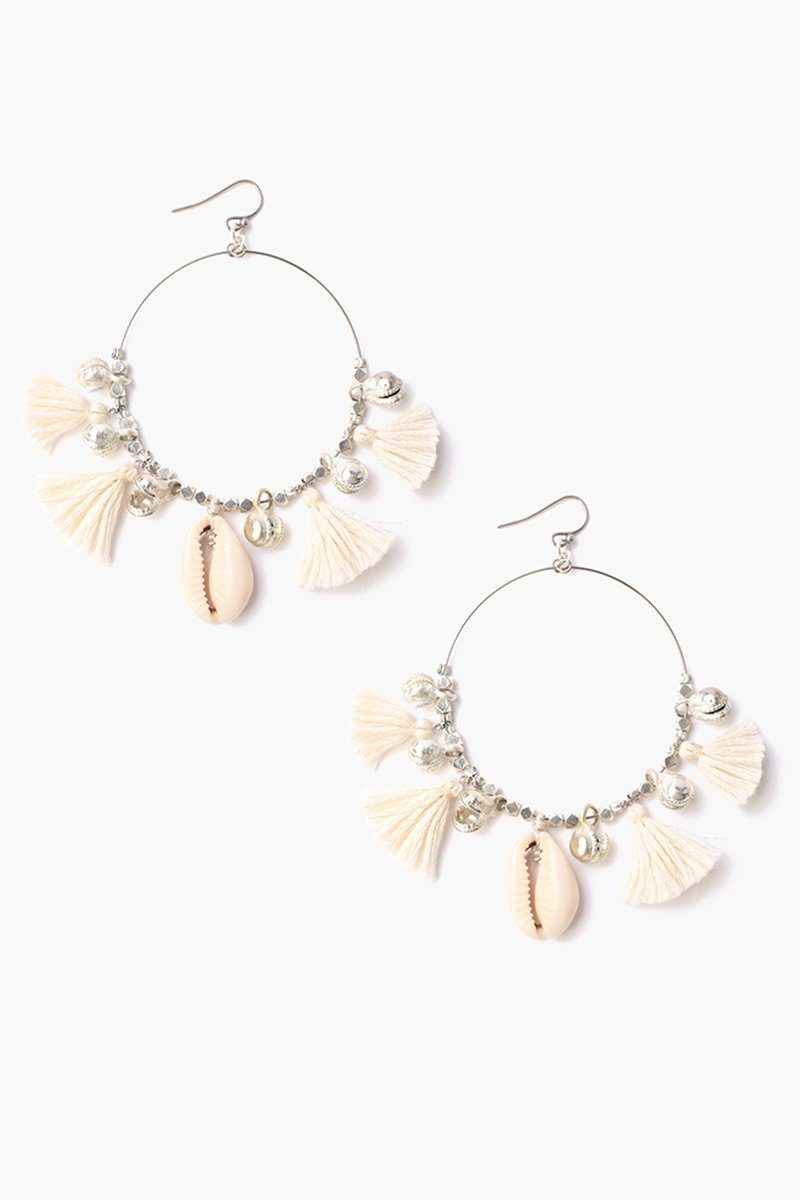 Almond Oil Cowry Shell Hoop Earrings