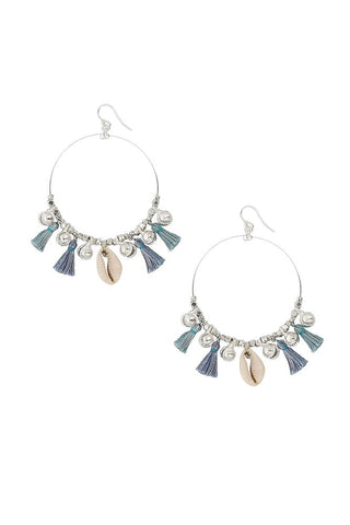 Blue Mix Charm Tassel Hoop Earrings