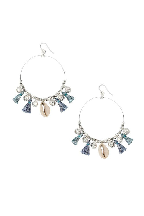 Blue Mix Charm Tassel Hoops