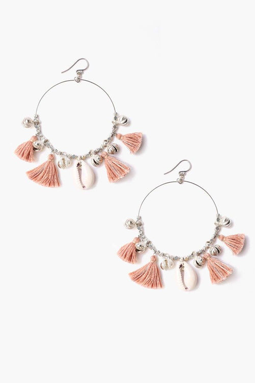 Coral Cloud Cowry Shell Hoop Earrings