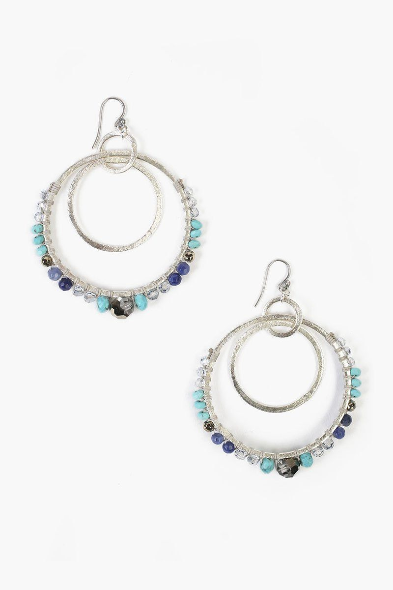 Turquoise Mix Double Hoop Earrings