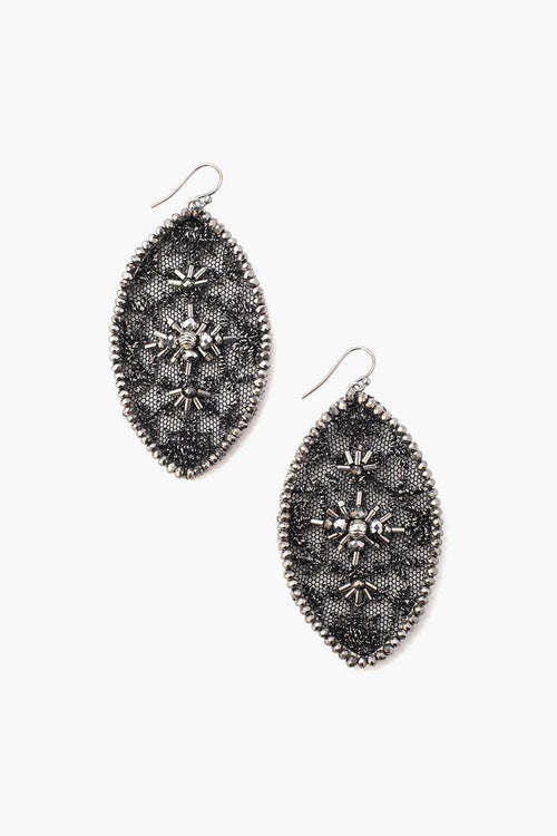 Black Mix Lace and Crystal Earrings