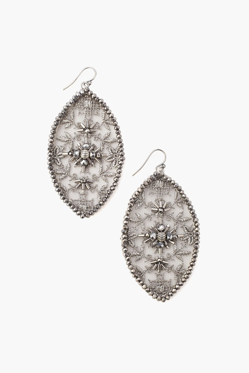 Grey Mix Lace and Crystal Earrings