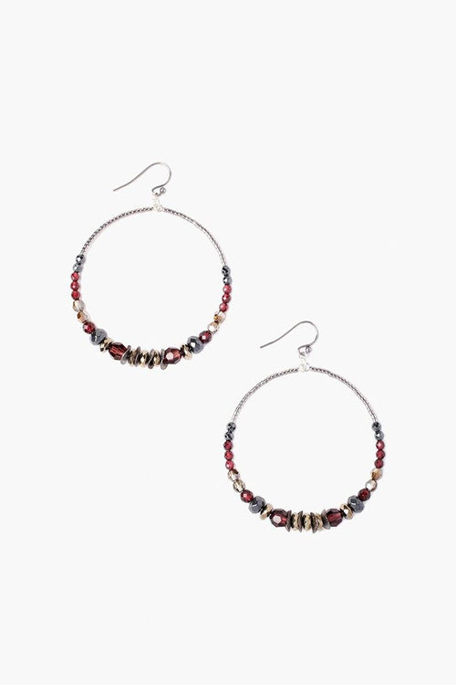 Burgundy Mix Hoop Earrings