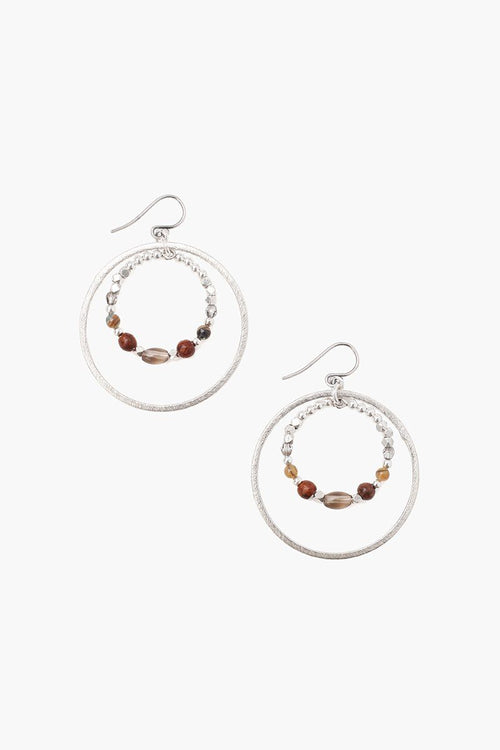 Smoky Quartz Mix Hoop Earrings