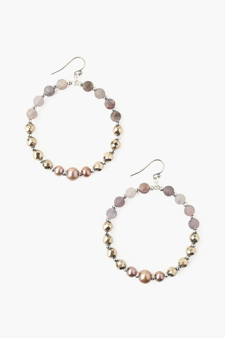 Iolite Mix and Taupe Pearl Hoop Earrings