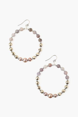 White Pearl Grande Hammered Hoop Earrings