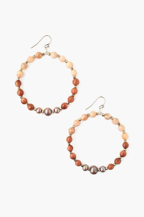 Sunstone Mix and Taupe Pearl Hoop Earrings