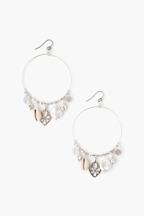 Grey Mix Sea Charm Hoop Earrings
