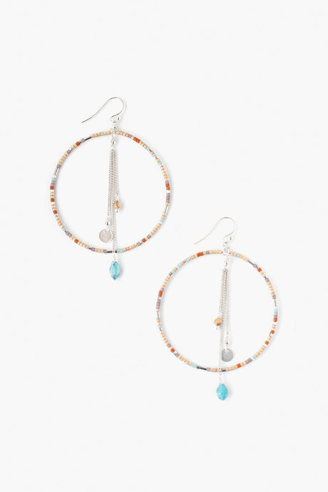 Seafoam Mix Seed Bead Hoop Earrings
