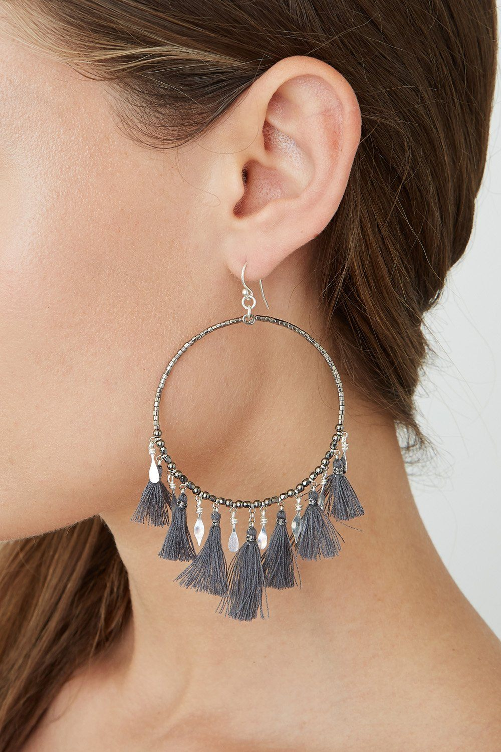 Gunmetal Mix Tassel Hoop Earrings