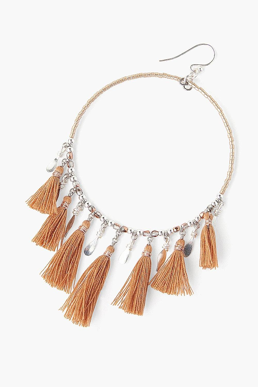 Rose Gold Mix Tassel Hoop Earrings