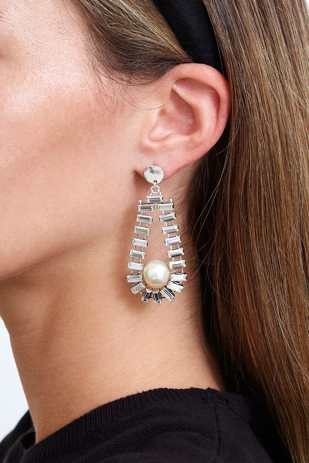 Lucent Crystal and Pearl Teardrop Earrings