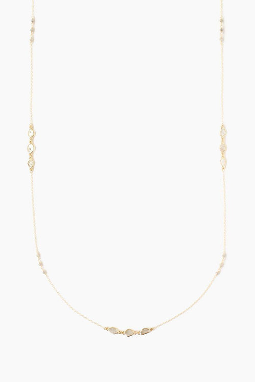 Sliced Champagne Diamond and Rondelle Long Layering Necklace