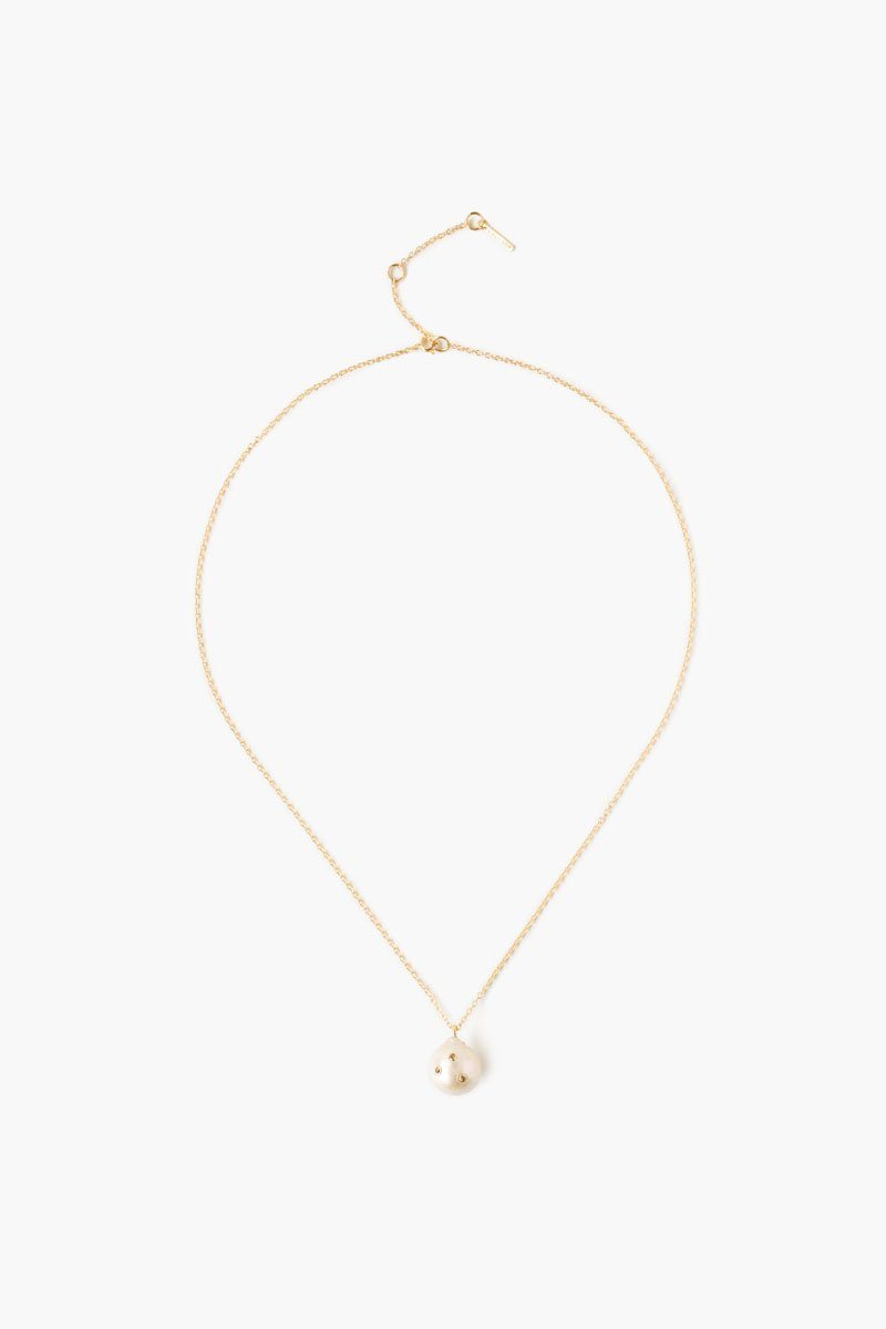 Champagne Diamond Akoya Pearl Pendant Necklace