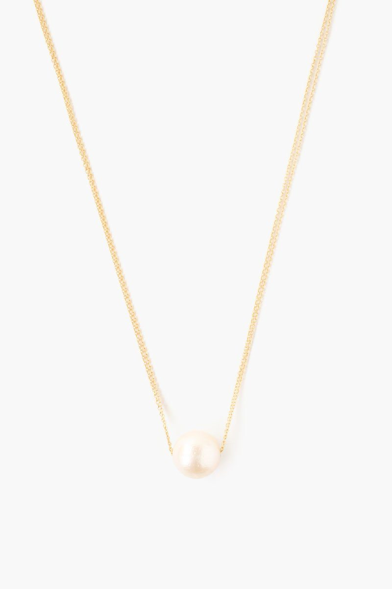 Gold Double Chain South Sea Pearl Pendant Necklace