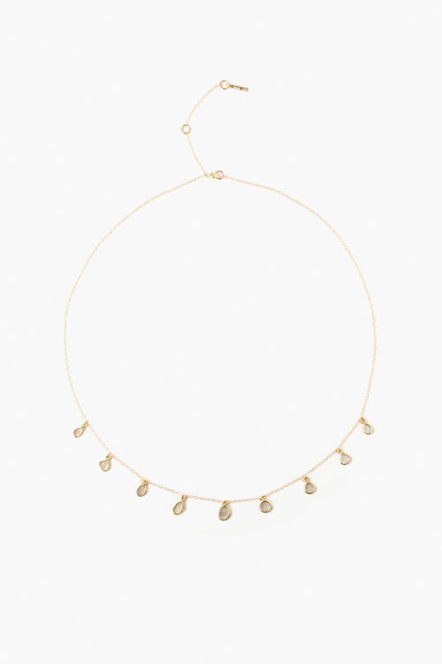 Sliced Champagne Diamond Strand Drop Necklace