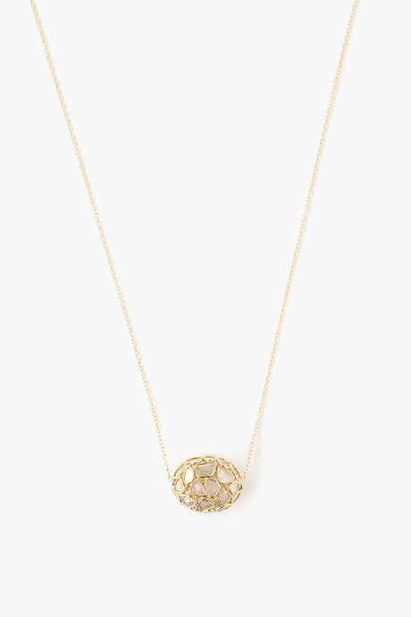 Sliced Champagne Diamond Delicate Egg Pendant Necklace