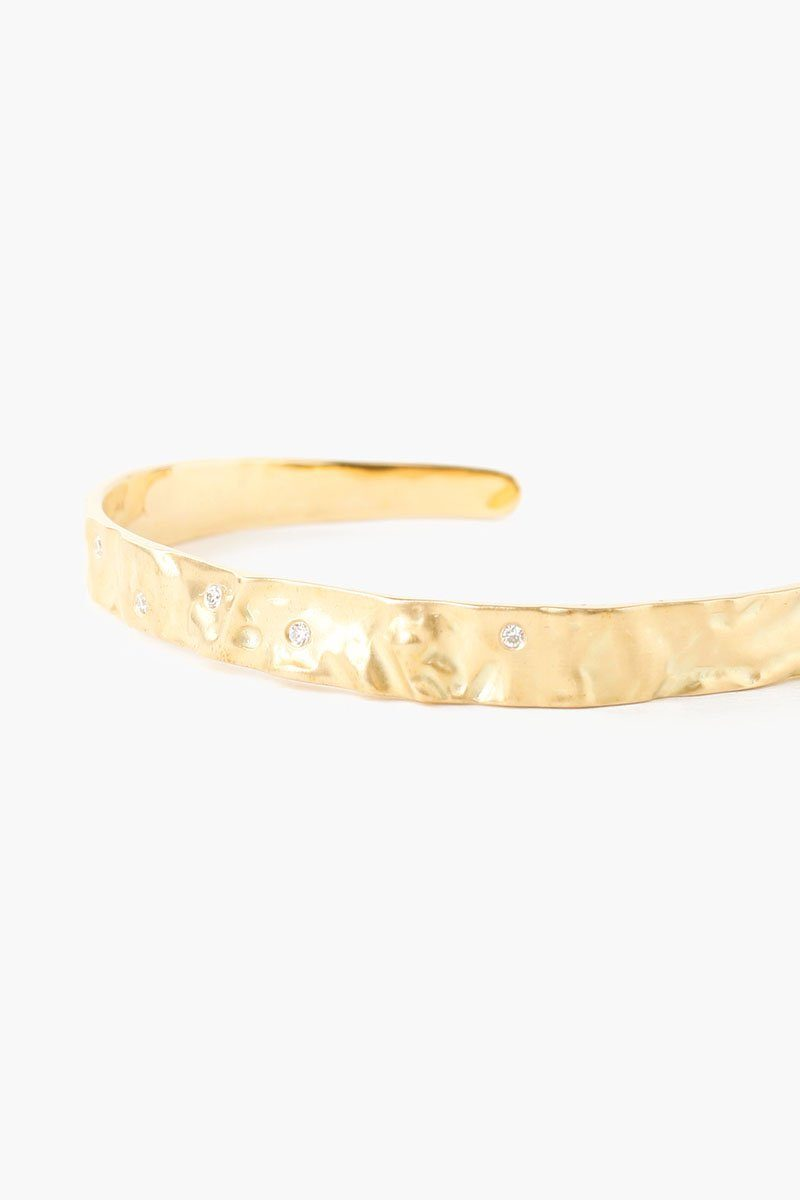 White Diamond Yellow Gold Cuff