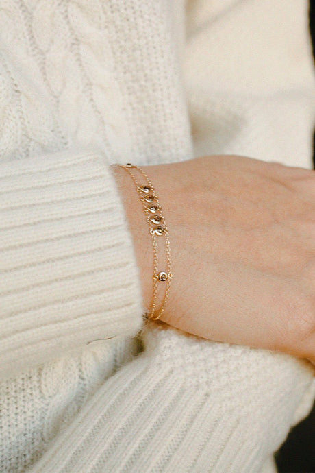 Champagne Diamond Gold Chain Bracelet