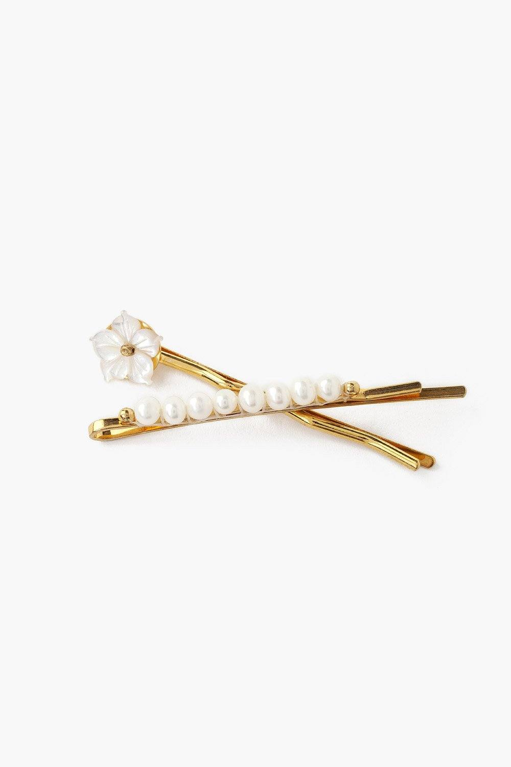 White Pearl Mix Hair Pin Duo