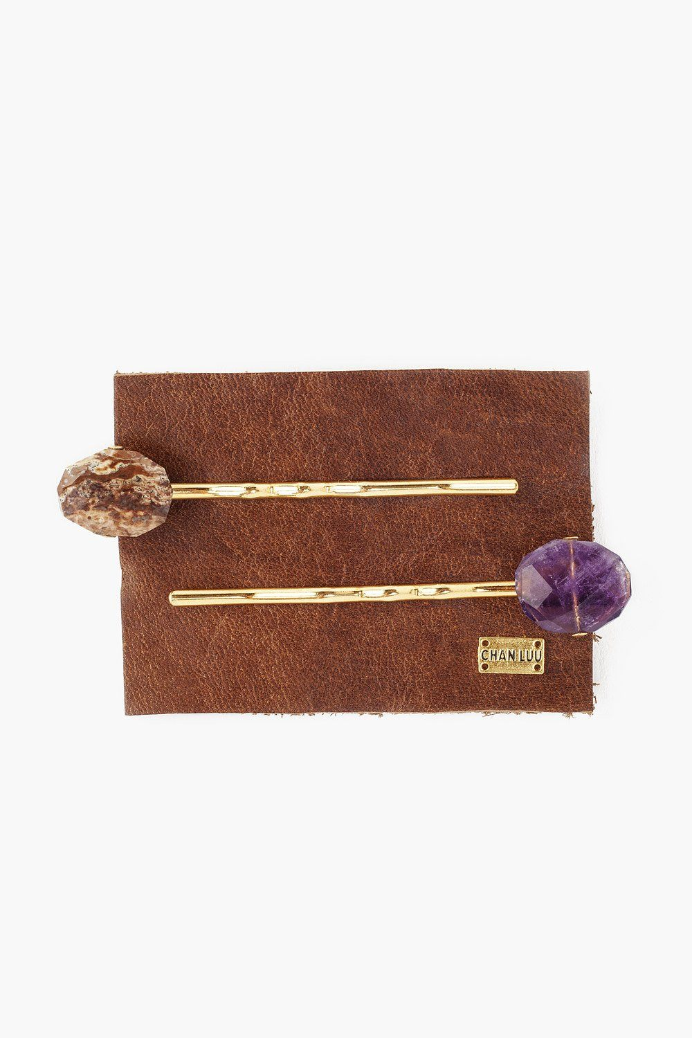 Set of Two Amethyst and Red Jasper Hair Pins
